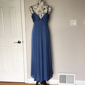 Formal Evening Gown Straps Draped Fit Flare Beaded